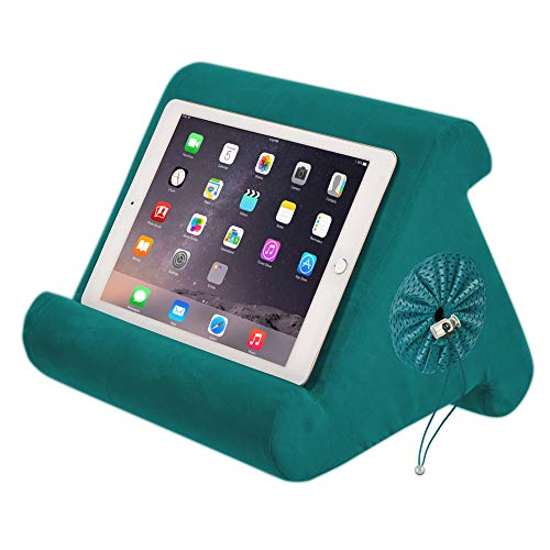 Flippy with New Storage Cubby Multi-Angle Soft Pillow Lap Stand for iPads, Tablets, eReaders, Smartphones, (Sage Green)