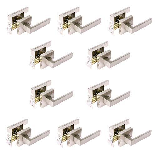 Heavy Duty Modern Door Locks, Passage Door Lock, Keyless Interior Door Levers for Closet or Hall, Satin/Brushed Nickel Finish with Square Rosette Flat Door Handle 10 Pack