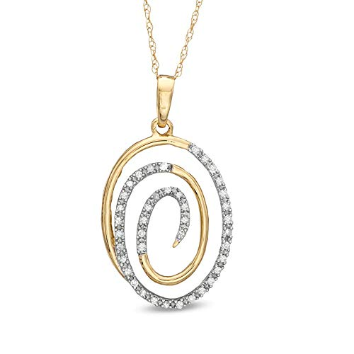 Ani's 1/4 CT. T.W. Round Cut D/VVS1 Diamond Oval Swirl Pendant For Womens & Girls In 10K Yellow Gold Plated 925 Silver