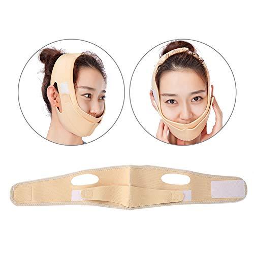 Ceinture de levage faciale amincissant, double ligne respirable de menton de soulèvement de menton jusqu'à la bande anti-rides amincissante(Beige (1#))