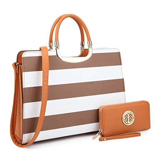 Women's Fashion Handbag Shoulder Bag Hinged Top Handle Tote Satchel Purse Work Bag with Matching Wallet (2-saffiano Coffee Stripe Wallet Set)