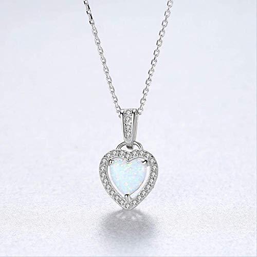DYFUHO Blanco Opal Colgante Collar De Plata Esterlina 925 Collar para Las Mujeres, Piedra De Nacimiento Amor Corazón Colgante Collar Regalos para Las Niñas (Forma del Corazón)