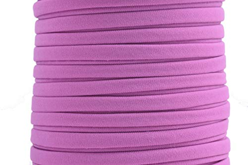 KONMAY 1 Roll 20 Yards 5.0mm Flat Elastic Cord Stitched Stretchy Spandex Cord (Lavender)