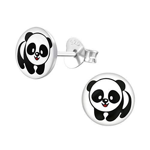 Laimons - Orecchini da bambina a forma di panda con disco nero e bianco, in argento Sterling 925
