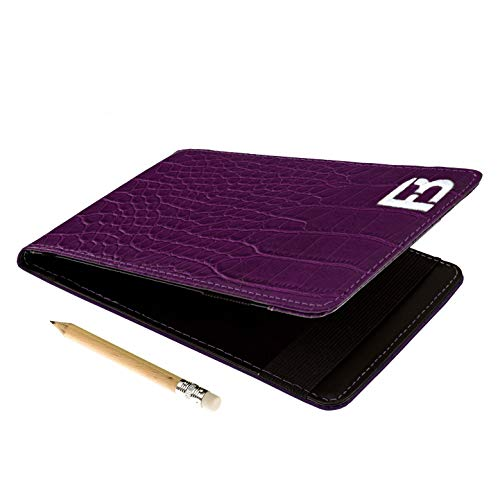 Fuzzy Bunkers Quality Leather Golf Scorecard Holder - Yardage Book Cover Plus Free Golf Pencil and Downloadable PDF Stat Tracker Sheet (Purple)
