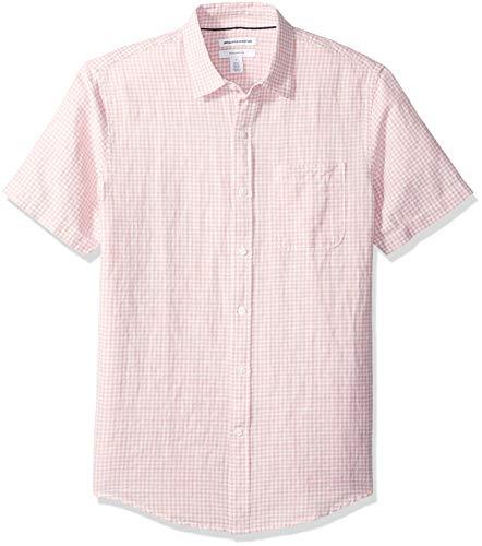 Amazon Essentials - Camisa de lino a rayas, de manga corta y