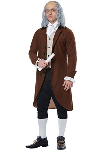 California Costumes Men's Benjamin Franklin-Colonial Man-Adult Costume, Brown/TAN/Black, Large