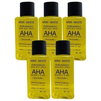 (5 bottles) MIMI WHITE AHA Lightening bleaching dark spot white remove dark skin cell 30ml.