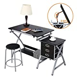 <span class='highlight'><span class='highlight'>Yaheetech</span></span> Art/Drawing Desk with Adjustable Height Tiltable Tabletop Drafting Board Craft Table with Storage Drawers and Stool Studying Table