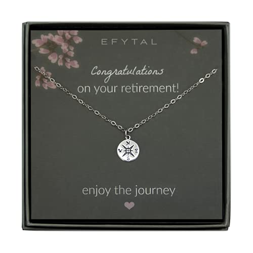 EFYTAL Retirement Gifts for Women, 925 Sterling Silver Compass Necklace, Jewelry Gift for Her, Goodbye Gift for Teacher, Coworker