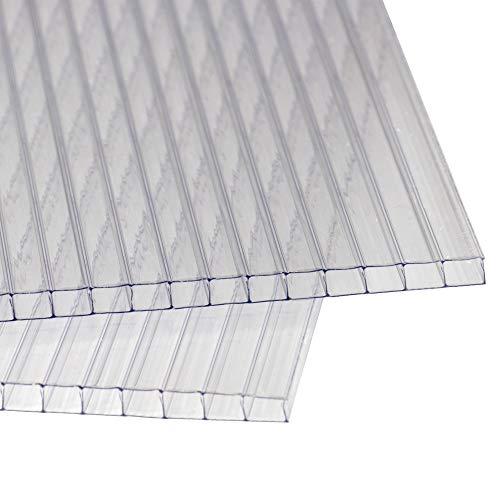 Rapid Teck® 14x Polycarbonat Hohlkammerstegplatten 4mm 10,25 m² Doppelstegplatte 1210x605 Stegplatte Gewächshausplatte