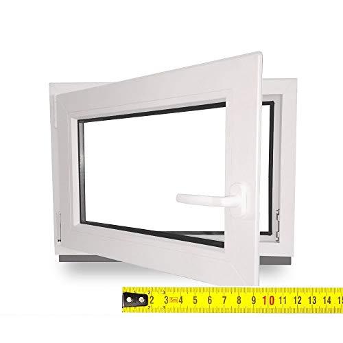 Kellerfenster nach Maß - Kunststofffenster - Fenster - Sondermaße - innen weiß/außen weiß - DIN Rechts - 3-fach - Verglasung - 0,5m² - 60 mm Profil