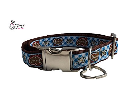 Jimmy und Katz Hundehalsband Spatzl Blau 35-58cm x 2,5cm