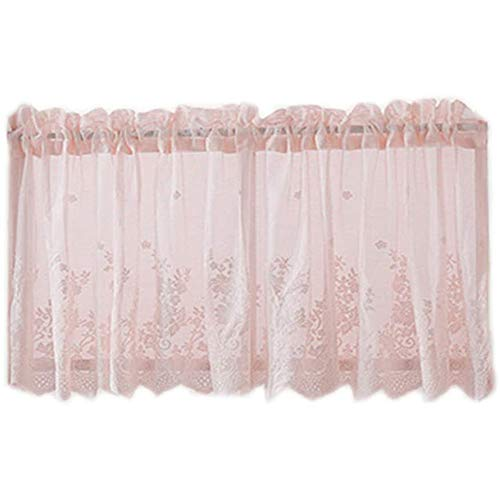 YUANP Blackout Curtains,Embroidered Lace Trim Window Tiers Half Curtains Woven Textured Short Valance Kitchen Cafe Decor