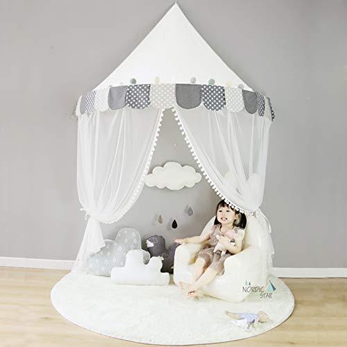 JINGBU tienda de campaña para niños, castillo de algodón plegable tienda superior cama cortina bebé cuna red niña niños habitación decoración