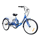 Max4out 3 Wheel Bycicles Trike Bike for Men 7-Speed Tricycle for Adults 24 Inch Wheels Women' Cruiser Bike for Recreation, Large Capacity Bicycle Basket, Adjustable Height Seat and Handbars,Blue