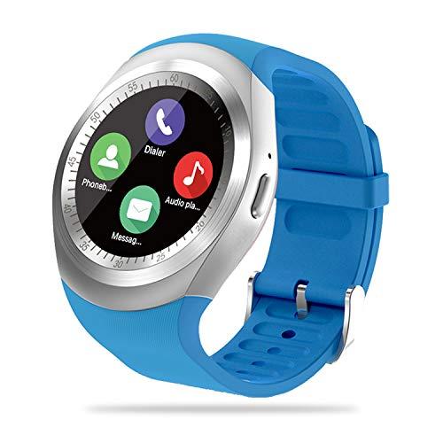 FENHOO Smartwatch, fitness tracker per donna uomo bambino con slot per scheda SIM touch screen, contapassi smart watch con controllo musicale Whatsapp Facebook Promemoria di notifica per Android (blu)