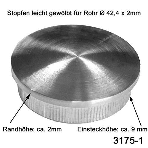 Edelstahl Geländer V2A Endkappen Rohrstopfen Rohrkappe - Geländerrohre Ø 42,4 mm, Modell KA10 leicht gewölbt