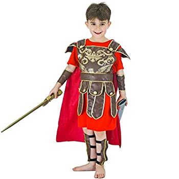 Kids Gladiator Halloween Costume Roman Warrior Dress Up & Role Play  4-6Y  Red,Brown