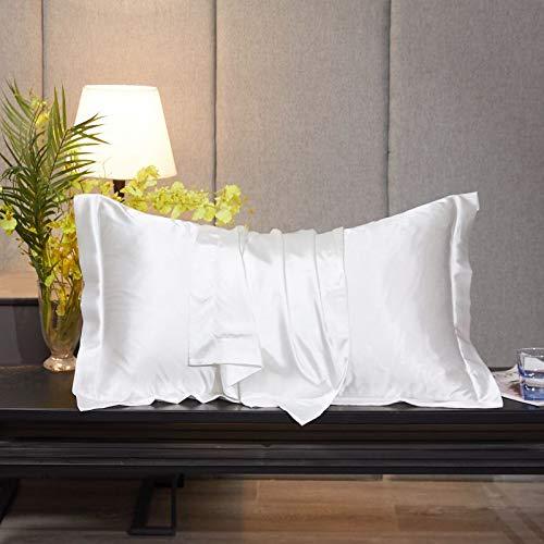 Lot de 2 taies d'oreiller en satin soyeux pour cheveux – Housses de coussin avec fermeture à enveloppe – Frais et facile à laver – Lot de 2 – Taies d'oreiller uniquement, sans insert
