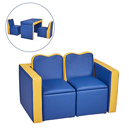 Kids Leather Sofa Armchair Compact Design Multifunctional 2in1 Children's Armchair Padded Table and Chair Set with Storage for Girls and Boys 3 Piece Kids Furniture Set No Assembly Required