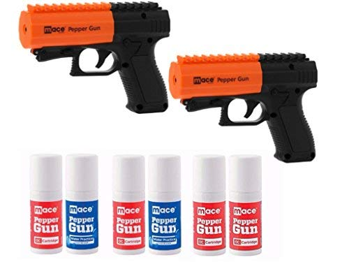 Mace (Bundle) Brand Police Strength (Version 2.0) Pepper Spray Guns with Invisible UV Identifying Dye, 2-Pack Includes 2 Pepper Spray Guns and 6 Canisters with 20 Foot Stream Spray