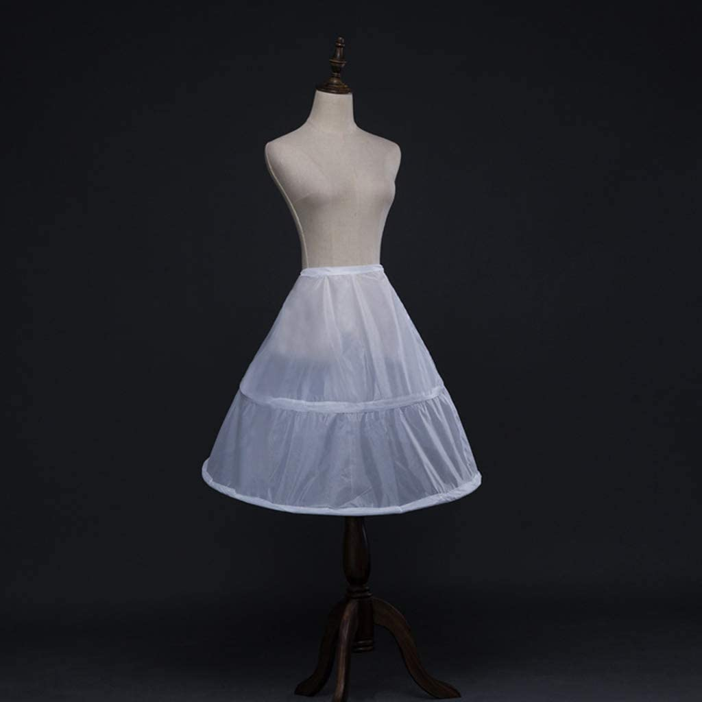 bluederst 2 Hoops Girls Wedding Dress Crinoline Petticoat Children Kids Elastic Waist Drawstring One Layer Underskirt Half Slip