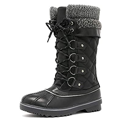 DREAM PAIRS Women's Monte_02 Black Mid Calf Winter Snow Boots Size 10 M US
