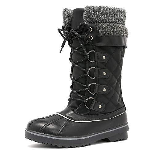 DREAM PAIRS Women's MONTE_02 Black Mid Calf Winter Snow Boots Size 11 M US