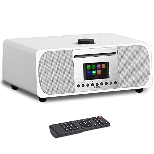 LMEGA M5+ All-in-One Music System CD Player,Internet Radio,FM Radio,WiFi,Spotify Connect,Bluetooth,Wooden Box,USB MP3,Headphone-Out,Clock&Alarms,Colour Display, Remote& app Control –White