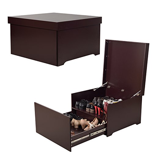 Organizedlife High-Capacity Brown Shoe Box Cabinet Seat with Drawer Modern