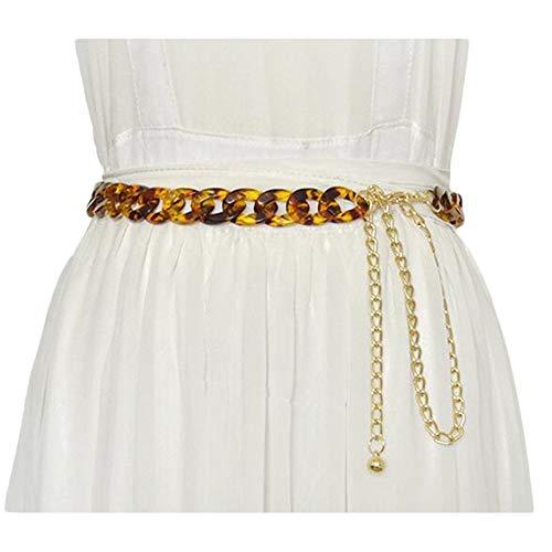 Lässige Gürtel Persönlichkeit der beiläufige Kleid Leopard dekorative Taillenkette Frauen-Bernstein-Kristall dünne Taille Kette, Lässige Mode-Accessoires (Color : 01, Size : 105cm)