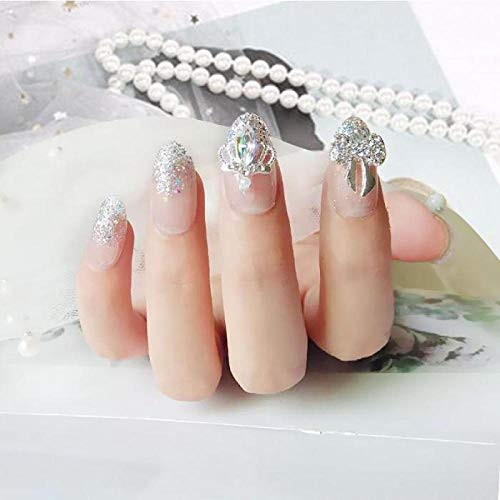 DQPCC Faux ongles 24 Pcs Transparent Brillant Paillettes Longue Ronde Faux Ongles Patches Glitter Diamante Couronne Bowknot Forme Artificielle Ongles