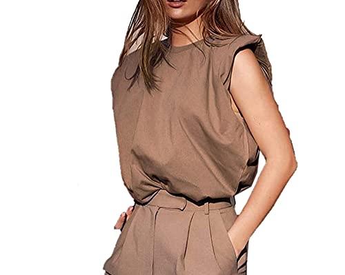 shirts 2021 nuevas mujeres acolchado hombro T sin mangas color sólido cuello redondo superior oficina señora jersey moda mujeres ropa elegante