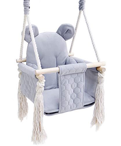 Baby Schaukel outdoor indoor - Kinderschaukel Babyschaukel für Türrahmen Kinderschaukelsitz Teddy grau...