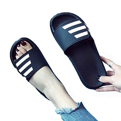 ZHIZI Chanclas Ducha para Mujer Deslizadores Antideslizantes Soles engrosadas Solas de Secado rápido Sandalias y Zapatillas Sandalias Casuales de toed de Verano (Color : Black, Size : US7/EU38/UK5)