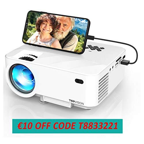 Mini proyector, 3800 lumens TOPVISION Sincronice el proyector de video de la pantalla del teléfono inteligente, compatible con 1080P, compatible con HDMI / USB / TV