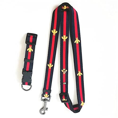 Bordado abeja collar de mascota correa traje perro collar de mascotas suministros perro cinturón perro perro perro arnés collar collar perro collar azul Set_L