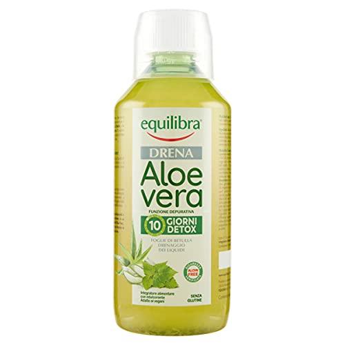 Equilibra Integratori Alimentari, Aloe Vera Drena, Integratore a Base di Aloe Vera per il Drenaggio dei Liquidi Corporei e la Funzionalità delle Vie Urinarie, con Succo di Mela, Bottiglia da 500 ml