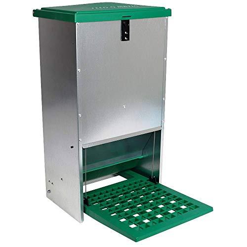 Futterautomat Feedomatic 20kg mit Trittplatte für 20kg Futter, Geflügel-Futterautomat, Hühnertrog, Futtertrog