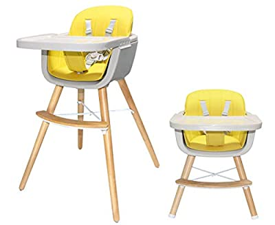 Asunflower Wooden High Chair 3 in 1 Convertible Infant Highchair Modern Solution with Cushion, Adjustable Feeding Chair for Baby