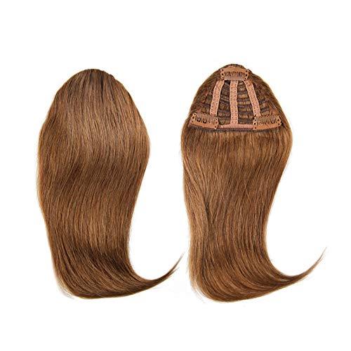 Hair Toppers mit Seitenteil Pony für Damen, Remy-Echthaar, Clip in unsichtbarer Haarverlängerung, Dunkelbraun