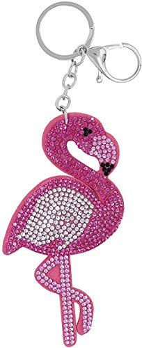 Schlüsselanhänger Flamingo Glitzer Steine Anhänger in rosa