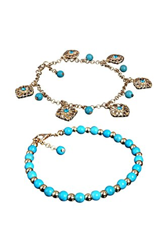 SODIAL(R) Boho Rhinestone Flower Beads Turquoise Foot Chain Anklet
