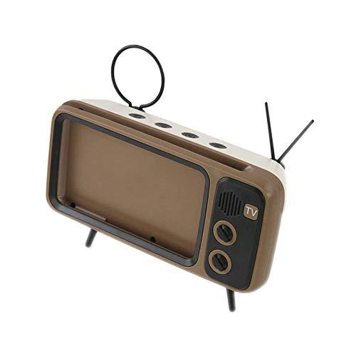 Yiyu Titular De Escritorio For Teléfono Móvil Radio De TV Retro Lindo Altavoz Bluetooth Creativo Soporte Perezoso x (Color : Brown)
