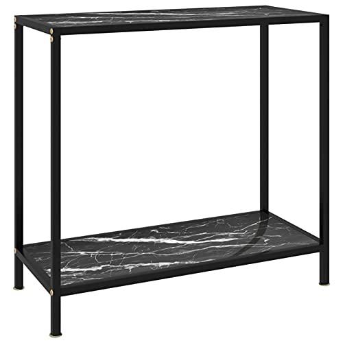 consolle ingresso di vetro e acciaio Tidyard Tavolo Tavolino Consolle in Vetro Temperato Nero Marmo 80x35x75 cm