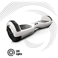 """ACBK - Patinete Eléctrico Hover Autoequilibrio Basic con Ruedas de 6.5"""" + Luces LED integradas, Velocidad máxima: 10-12 km/h - Autonomía 10-20 km - Carga soportada: 20-100kg (Blanco)"""