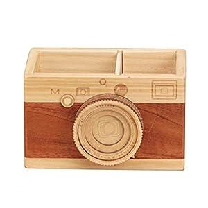 Estuche de madera para lápices, soporte para bolígrafos de escritorio, organizador de maquillaje para oficina…