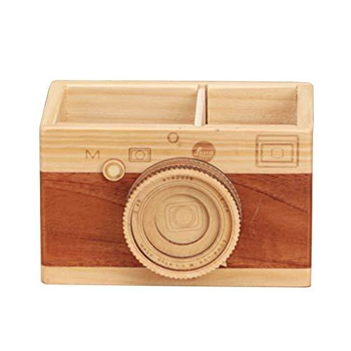 Estuche de madera para lápices, soporte para bolígrafos de escritorio, organizador de maquillaje para oficina, decoración del hogar, gran regalo para fotógrafos, color Tipo A free size
