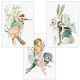 Wandbilder 3er Set für Baby & Kinderzimmer Deko Poster   Kunstdruck DIN A4 ohne Rahmen und Dekoration Tiere (Phantasy Vogel Hase Mädchen)